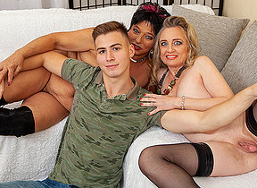 Two horny housewives share their young toyboys cock in hot threesome